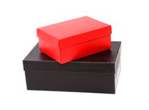 Two box, red and black on the white background Royalty Free Stock Photo