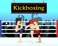 Two boxer are fighting in boxing stadium. Vector Stock Images