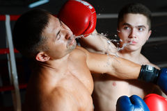Two boxers battle on a ring. One beats another in a jaw Royalty Free Stock Photos
