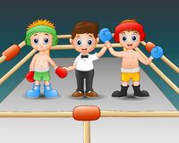 Two boxers at the boxing ring. Boxers in blue gloves of winner. Illustration of Two boxers at the boxing ring. Boxers in blue gloves of winner Stock Image