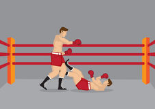 Two Boxers in Boxing Ring. Vector illustration of two boxers in boxing ring and one of them knocked out on the floor Stock Image