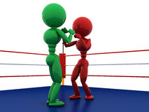 Two boxers in a boxing ring #9. Two boxers in a boxing ring on a white background. #9 Stock Photos