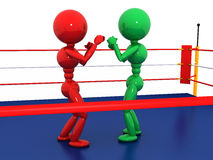 Two boxers in a boxing ring  #6. Two boxers in a boxing ring on a white background. #6 Royalty Free Stock Photos