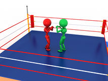 Two boxers in a boxing ring #5. Two boxers in a boxing ring on a white background. #5 Stock Photography