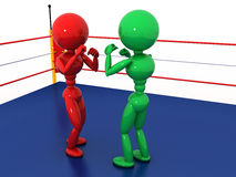 Two boxers in a boxing ring #7. Two boxers in a boxing ring on a white background. #7 Royalty Free Stock Photo