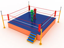 Two boxers in a boxing ring #4. Two boxers in a boxing ring on a white background. #4 Royalty Free Stock Images