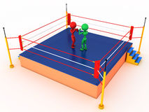 Two boxers in a boxing ring #3. Two boxers in a boxing ring on a white background. #3 Stock Photography