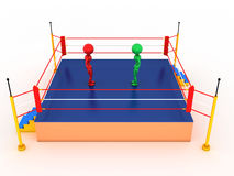 Two boxers in a boxing ring #1. Two boxers in a boxing ring on a white background. #1 Stock Images