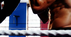 Two boxers fighting in boxing ring. Two aggressive boxers fighting in boxing ring stock footage