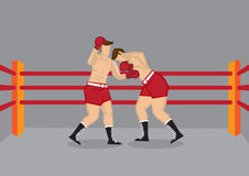 Two Boxers Fighting in Boxing Ring. Vector illustration of two boxers fighting in boxing ring enclosed by ropes Stock Images