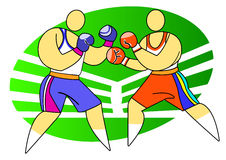 Two boxers fighting. Boxing sport. Two boxers on the ring Stock Photos
