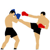 Two boxers fighting with high kick Royalty Free Stock Photo