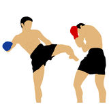 Two boxers fighting with high kick Stock Photo