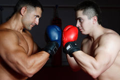 Two boxers on a ring. Two young sportsmen box each other in boxing gloves Stock Photo