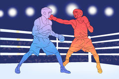 Two boxers on the ring on blue background Royalty Free Stock Photography