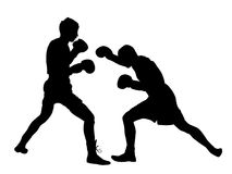 Two boxers in ring  silhouette. Two boxers in ring  silhouette illustration isolated on white background. Fighters battle spectacle event. Martial arts sport Stock Photos