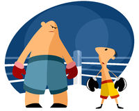 Two boxers on the ring. Vector illustration of a two boxers on the ring Stock Images