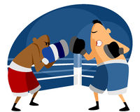 Two boxers on the ring Royalty Free Stock Photo