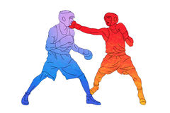 Two boxers on the ring on white background. Red and blue boxers on the ring on white background Stock Photos