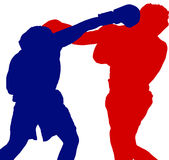 Two boxers shadows. Shadows two boxers / blue red Royalty Free Stock Photo