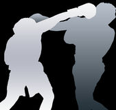 Two boxers shadows. Shadows two boxers / Grey Scale Royalty Free Stock Photo