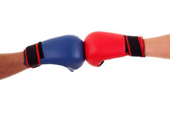 Two boxers touch gloves ready to start fight Stock Photos