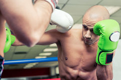 Two boxers training. And making sparring Royalty Free Stock Photos