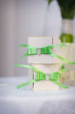 Two boxes, gift with green bow Royalty Free Stock Photography