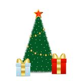 Two boxes with gifts stand near fir-tree. Illustration Stock Photography