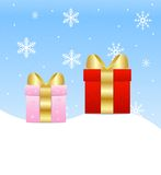 Two boxes with gifts stand on snow Stock Images