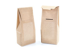 Two  boxes from the goffered cardboard on  white. Two  boxes from the goffered cardboard on white background Stock Photography