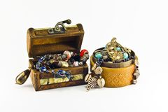 Two boxes with necklaces and bracelets Stock Photo