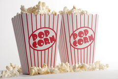 Two Boxes of Popcorn. Popcorn in a red and white striped popcorn box Stock Photo