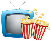 Two boxes of popcorn and television Royalty Free Stock Images