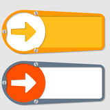Two boxes. Set of two boxes for any text with arrow Stock Illustration