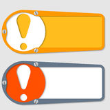 Two boxes. Set of two boxes for any text with exclamation mark vector illustration