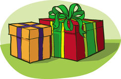 Two boxes. Vector illustrations with gifts in two colourful boxes Stock Photography
