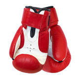Two boxing gloves. Two red boxing gloves isolated on white background Royalty Free Stock Images