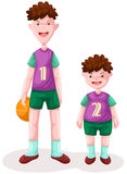 Two boy with basketball Stock Photo