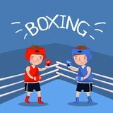 Two boy boxers fighting with gloves at the court, kids sport banner, vector Illustration Royalty Free Stock Photos