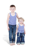 Two boy brothers in striped singlets Royalty Free Stock Photos