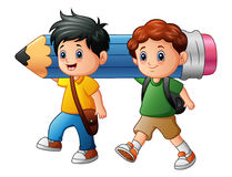 Two boy cartoon holding a large pencil. Illustration of Two boy cartoon holding a large pencil royalty free illustration