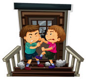 Two boy fighting on staircase. Illustration Royalty Free Stock Images