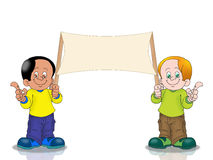 Two Boy holding banner Royalty Free Stock Photo