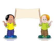 Two Boy holding banner stock illustration