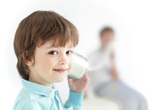 Two boy play in the tin can phone. Two happy boy play in the tin can phone Royalty Free Stock Images