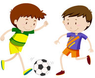 Two boy playing soccer Stock Photo