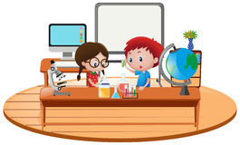 Two boy in science classroom. Illustration Royalty Free Stock Photos