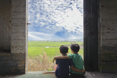 Two boy sit in the train Stock Photography