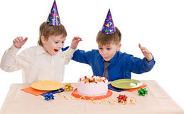 Two boy wich cake Stock Image